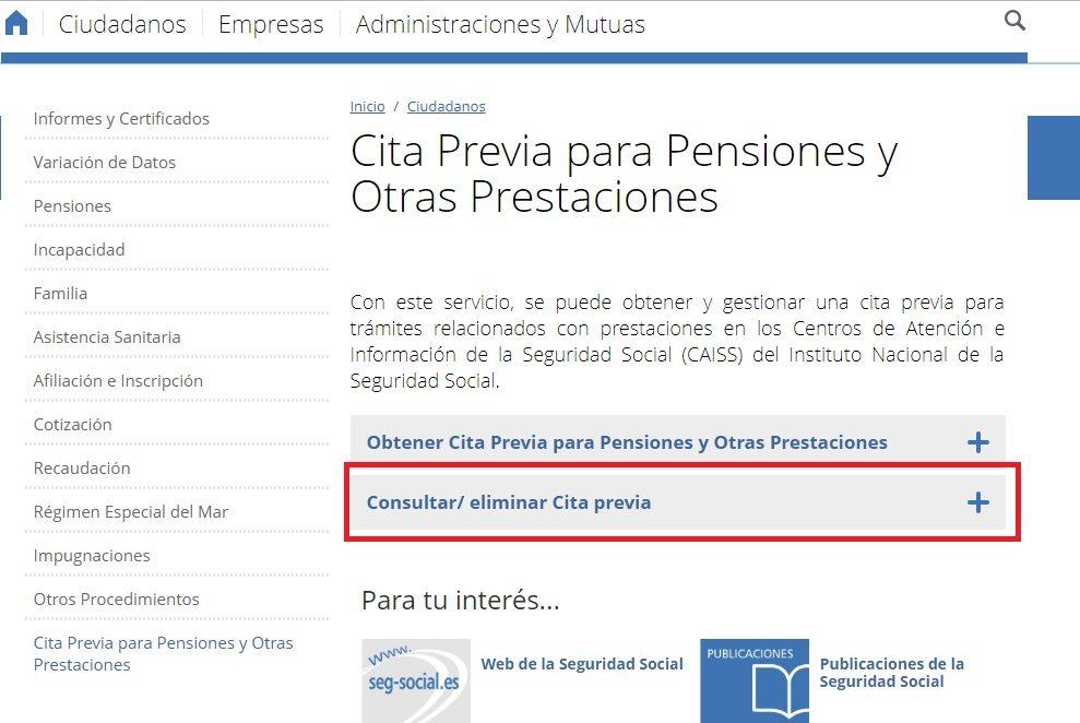 Cita Previa para pensiones y Otras Prestaciones